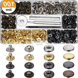Warmtong 100 Set Snap Fasteners Kit Button Press Studs Faste
