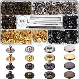 Hotop 100 Set Snap Fasteners Leather Snaps Button Kit Press