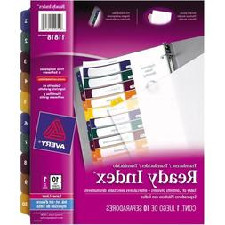 Avery 11818 Table of Contents Dividers, 10-Tab, 1-10, Tran/M