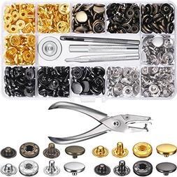 Chuangdi 120 Set Sewing Snap Fasteners Kit Metal Snaps Butto