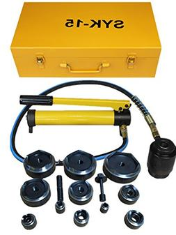 15ton Hydraulic Knockout Punch Kit Hand Pump 11 Dies Tool Hy