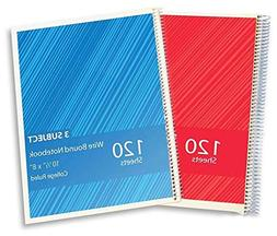 1InTheOffice 3 Subject Wirebound College Ruled Notebooks