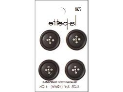 "LaPetite Buttons 3/4"" 4 Hole Black 4pc"