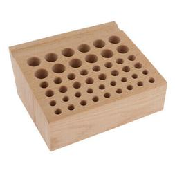 46 Holes Soild Wood Storage Table Rack Leather Stamp Punch E