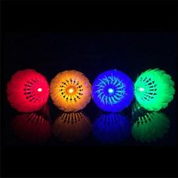 4x LED Badminton Set Shuttlecock Touch Button Night Glow Out