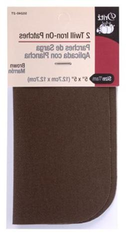 Dritz 55240-2T Twill Iron-On Patches, Brown, 5 by 5-Inch, 2-