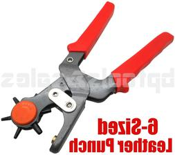 "6 Sized 9-1/2"" Heavy Duty Leather Hole Punch Hand Pliers Bel"