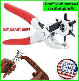 "6 Sized 9"" Heavy Duty Leather Hole Punch Hand Pliers Belt Ho"