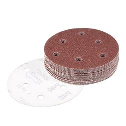 uxcell 20Pcs 5 Inch 6 Hole Hook and Loop Sanding Disc 40 Gri
