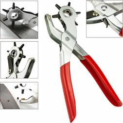 "6 Sized 9"" Heavy Duty Leather Hole Punch Hand Plier Belt Hol"