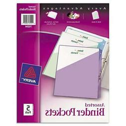 Avery 75254 5 Count Assorted Colors Binder Pockets
