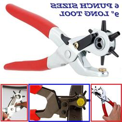 """9"""" Heavy Duty Leather Hole Punch Hand Pliers Belt Holes 6 Si"""