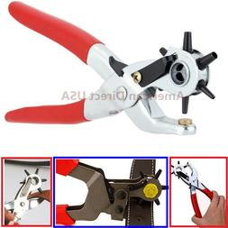 "9"" Heavy Duty Leather Hole Punch Hand Pliers Belt Holes 6 Si"