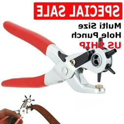 """9"""" Leather Hole Punch Heavy Duty Hand Pliers Belt Holes 6 Si"""