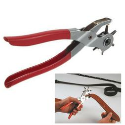 "9"" Leather Hole Punch Heavy Duty Hand Pliers Belt Holes 6 Si"