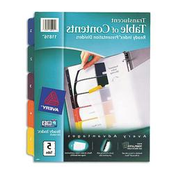 Ready Index Table/Contents Dividers, 5-Tab, Letter, Assorted