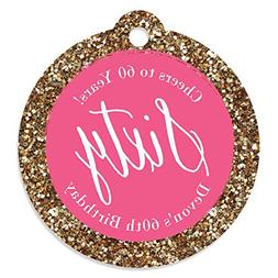 Big Dot of Happiness Custom Chic 60th Birthday - Pink and Go