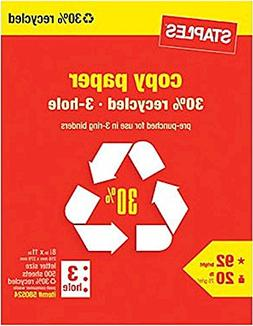Staples 3-Hole Punch 30% Recycled Copy Fax Laser Inkjet Prin