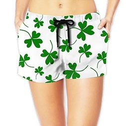 Pantgua1 Shamrock Irish Clover Women Color Fashion Swim Trun