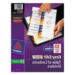 Avery 12173 Ready Index Customizable Table of Contents, Asst