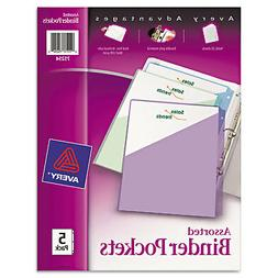 Avery Binder Pockets 3-Hole Punched 9 1/4 x 11 Assorted Colo