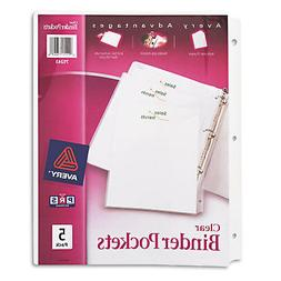 Avery Binder Pockets 3-Hole Punched 9 1/4 x 11 Clear 5/Pack