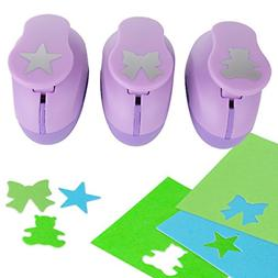 YazyCraft Bear, Star and Ribbon Shaped Paper Hole Puncher, 3
