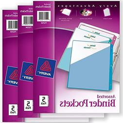 "Avery Binder Pockets, Assorted Colors, 8.5"" x 11"", Acid-Free"