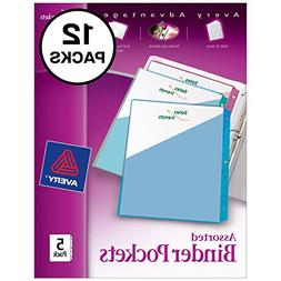 """Avery Binder Pockets, Assorted Colors, 8.5"""" x 11"""", Acid-Free"""