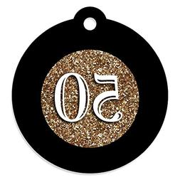 Adult 50th Birthday - Gold - Birthday Party Favor Gift Tags