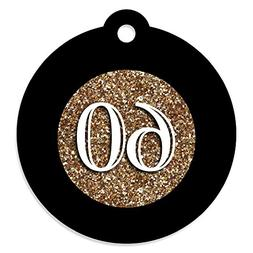 Adult 60th Birthday - Gold - Birthday Party Favor Gift Tags