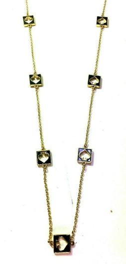 Kate Spade Black Hole Punch Necklace NWT Classic Cut Out Spa