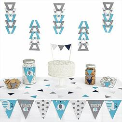 Blue Elephant - Triangle Boy Baby Shower or Birthday Party D