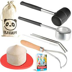 Coconut Opener Set Tool Kit with PREMIUM Stainless Steel Mal