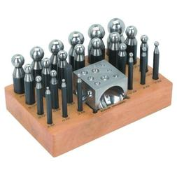 SE 24 PCS Doming Punch & Dapping Block Set on Wooden Stand