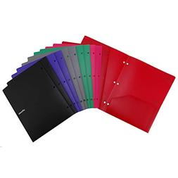 Folders, Plastic Folders with Pockets and 3 Holes,Assorted