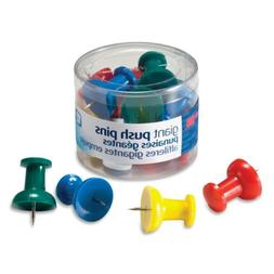 Officemate Giant Push Pins 1.5 Inch, Assorted Colors, Tub of