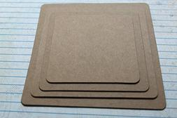 "Graduated Squares Rounded Corners 3; 3 1/2; 4 & 4 1/2"", 4 Ba"
