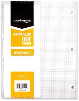 AmazonBasics Graph Ruled Loose Leaf Filler Paper, 100-Sheet,