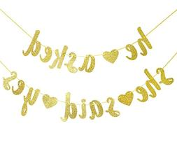 Qttier He Asked She Said Yes Gold Glitter Banner - Wedding,