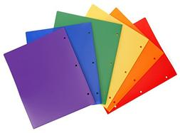 STEMSFX Heavy Duty Plastic 2 Pocket Folder Hole Punched  For