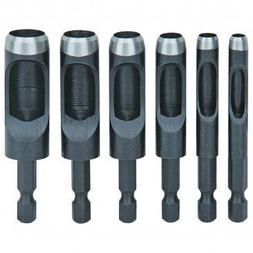 6 Piece Hollow Punch Set with Hex Shanks, Non-Slip Fit, Size