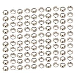 uxcell 100pcs 8mm Iron Eyelet Grommets Silver Tone w Washers