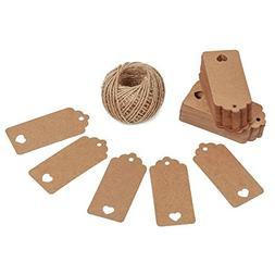 Gift Tags,100 Pcs Kraft Paper Gift Tags with String Vintage