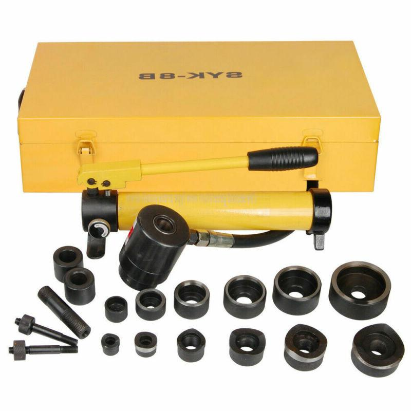 10T Hydraulic Knockout Punch Driver Kit 6 Die Conduit 1/2 to