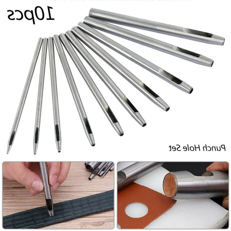 10X Leather Round Steel Hollow Hole Punch Set Leather Hand S