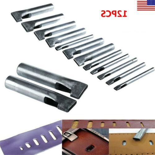 12pc Leather Hollow Punch Tack Tools Cutters New