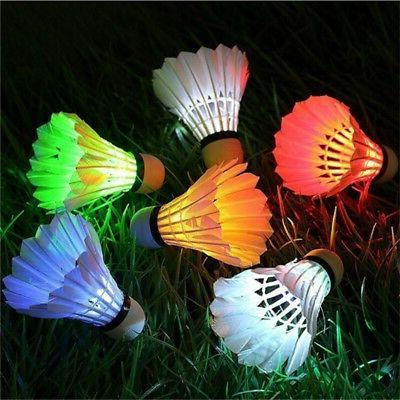 4x LED Badminton Shuttlecock Touch Button Glow Outdoor Indoor