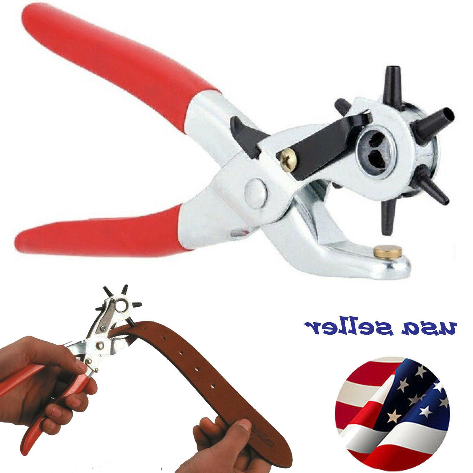 """9/"""" Leather Hole Punch Heavy Duty Hand Pliers Belt Holes 6 Sized Puncher Tool New"""