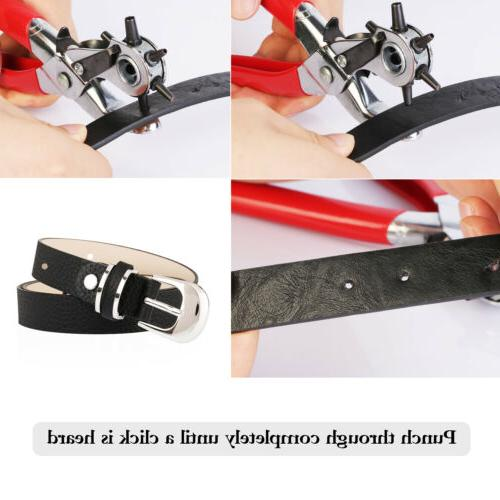6 Duty Hole Punch Hand Pliers Belt Holes Punches Tools US